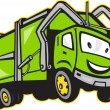 Garbage Rubbish Truck Cartoon - Stok Vektör