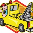 Tow Wrecker Truck Driver Thumbs Up — Stock Vector