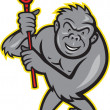 Gorilla Ape With Lacrosse Stick Cartoon — Stock Vector