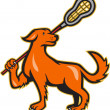 Dog With Lacrosse Stick Side View — Stock Vector