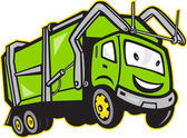 Garbage Rubbish Truck Cartoon — Stock Vector