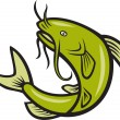 Catfish Fish Jumping Cartoon — Stockvektor