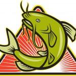 Catfish Fish Jumping Cartoon — Stock Vector #21593955