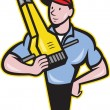 Construction Worker Jackhammer Pneumatic Drill — Stockvector #21593981