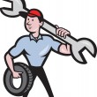 Mechanic With Spanner And Tire Wheel — Stock Vector