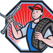 Mechanic With Tire Socket Wrench And Tire — Stock Vector