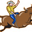 Rodeo Cowboy Bull Riding Retro — Stock Vector
