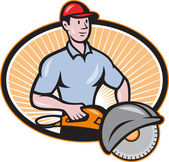 Construction Worker Concrete Saw Consaw Cartoon — Stock Vector