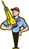 Construction Worker Jackhammer Pneumatic Drill — Stockvector