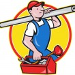 Royalty-Free Stock Vector Image: Plumber With Pipe Toolbox Cartoon
