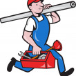 Stock Vector: Plumber With Pipe Toolbox Cartoon