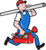 Plumber With Pipe Toolbox Cartoon — Stock Vector