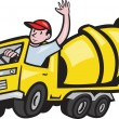 Construction Worker Driver Cement Mixer Truck — Imagen vectorial