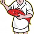 Stock Vector: Japanese Fishmonger Butcher Chef Cook