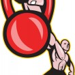 Crossfit Training Lifting Kettlebell Front - Stock Vector