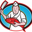 Japanese Fishmonger Butcher Chef Cook — Stock Vector