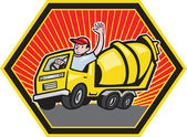 Construction Worker Driver Cement Mixer Truck — Stock Vector