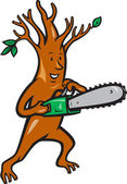 Tree Man Arborist With Chainsaw — Stock Vector