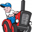 Farmer Driving Vintage Tractor Cartoon — Stock Vector