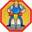 Construction Worker Jackhammer Pneumatic Drill - Image vectorielle