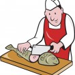 Sushi Chef Butcher Fishmonger Cartoon - Stock Vector