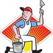Plaster Masonry Worker Cartoon - Stock Vector