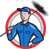 Chimney Sweeper Cleaner Worker Retro — Stock Vector