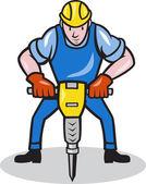 Bouw werknemer jackhammer pneumatische boren — Stockvector