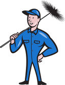 Chimney Sweeper Cleaner Worker Cartoon — Stock Vector