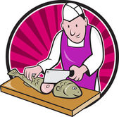 Sushi Chef Butcher Fishmonger Cartoon — Stock Vector