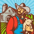 Pig Farmer Holding Piglet Barn Retro - Stock Vector