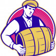 Bartender Carrying Beer Keg Retro - Stock Vector