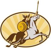 Valkyrie Riding Horse Retro — Stock Vector