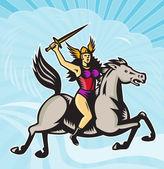 Valkyrie Amazon Warrior Riding Horse — Stock Vector