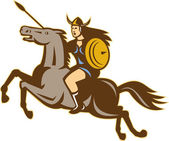 Valkyrie Riding Horse Retro — Stock Vector
