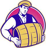 Bartender Carrying Beer Keg Retro — Stock Vector