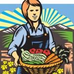Organic Farmer Farm Produce Harvest Retro — Stock Vector