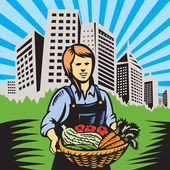 Farmer-female-harvest-building — Stock Vector