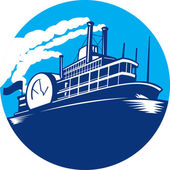 Steamboat Ferry Passenger Ship Retro — 图库矢量图片
