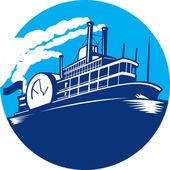 Steamboat veerboot passagiersschip retro — Stockvector
