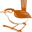 Wren bird perched on branch — Stock Vector