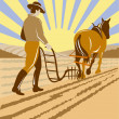 Stock Vector: Farmer and horse plowing the farm