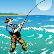 Fisherman surf casting — Stock Vector