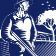 Farmer or hunter with shotgun rifle gun — Vector de stock #27774509