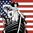 American revolution soldier or general at helm of boat — Stock Vector