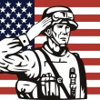 American soldier serviceman saluting — Stock Vector