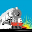 Steam train locomotive coming up on railroad — Stock Vector