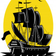 Galleon sailing ship at sea — Stock Vector