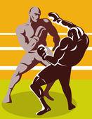 Boxer ansluter en knockout punch — Stockvektor