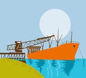 Boom crane loading a cargo ship — Stock Vector